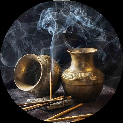 Füstölők az aromaterápia illusztrálására